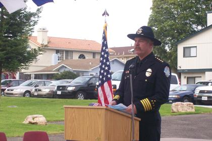 Grover Beach Chief of Police Jim Copsey speaks at the September 11 Memorial Event