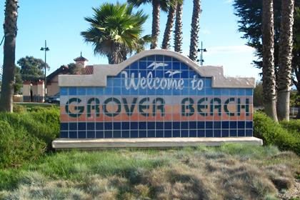 Welcome to Grover Beach Entrance Sign at the Amtrak Station and Highway 1